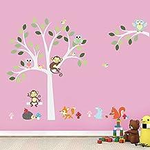 UniqueBella Pegatinas de Pared Vinilo Infantil Decorativo Adhesivo Decoración para Hogar Habitación de Niños Animales bajo el Árbol