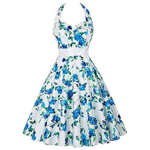 OverDose Damen Urlaub Karneval Schlank Stil Frauen Vintage Floral Bodycon Lässige Abendgesellschaft Prom Maskerade Tanz Unregelmäßigen Swing Dress ()