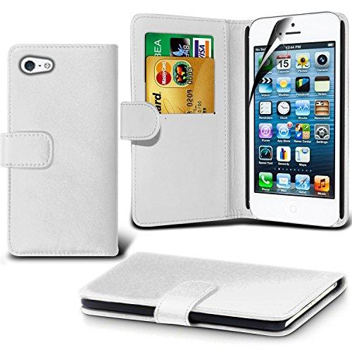 iPhone 5/5S Fall, DN® Hohe Qualität Apple iphone 5/5s Leder Fall 2012Modell [10,2cm Zoll Display] iPhone 5/5S, Premium Leder Wallet [mit Kartenhalter] Schutzhülle für Apple iPhone 5/5S [kompatibel m weiß