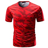 VEMOW Sommer Männer Casual Täglichen Sport Camouflage Print O Neck Pullover Kurze T-Shirt Top Bluse Pulli Tees(Rot, EU-56/CN-2XL)