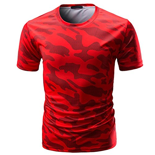 VEMOW Sommer Vatertag Geschenk Männer Casual Täglichen Sport Camouflage Print O Neck Pullover Kurze T-Shirt Top Bluse Pulli Tees(Rot, EU-52/CN-L)