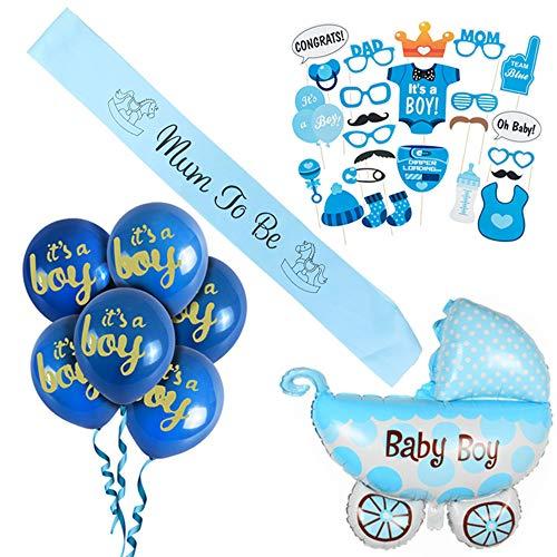 ko Junge/its a Boy babyshower deko/Baby Dusche Dekoration/ Neugeborene Blau Fotorequisiten Masken, Mum to Be Schärpe, Kinderwagen Folienballon und It's a Boy Ballons. ()