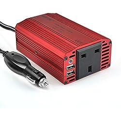 Bestek 300W DC 12V to 230V AC Inverter Adapter USB Car Charger - Red