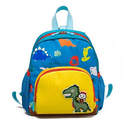 Baby Kinder Dinosaurier Muster Rucksack, Cartoon Leinwand Schultasche für 1-5 Jahre alt Kindergarten Jungen und Mädchen, Kleinkind Bestes Geschenk Outdoor Sports Schultertasche (Light Blue)