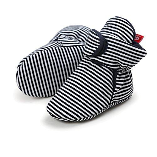 AUPUMI Unisex-Baby Neugeborenes Fleece Booties Bio Baumwoll-Futter und Rutschfeste Greifer Winterschuhe (0-6 Monate, Schwarzer Streifen)