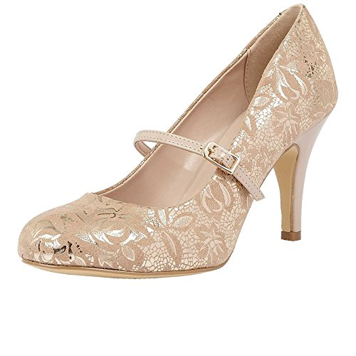 Lotus Fuzina Womens Dress Court Shoes NUDE FLORAL PRINT