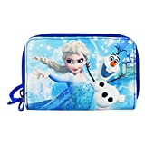 Disney Frozen Luxury Wallet Coin Purse Card ID Photos Holder Blue with Metallic Button