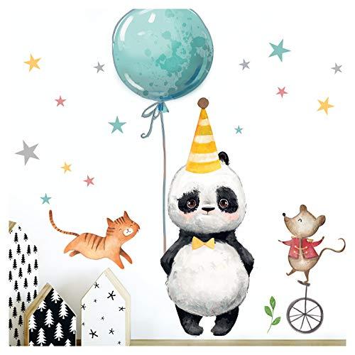 Little Deco Aufkleber Kinderzimmer Panda Katze Maus & Sterne Jungen I 97 x 60 cm (BxH) I Wandaufkleber Junge Luftballon Wandtattoo Tiere Deko Babyzimmer DL207-8