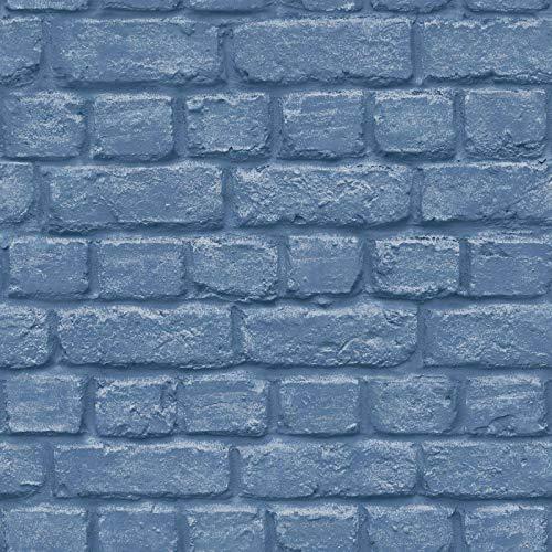 Rasch Portfolio Tapete 226812 - Metallic Loft lackiert Stein Mauer Blau Steine Portfolio