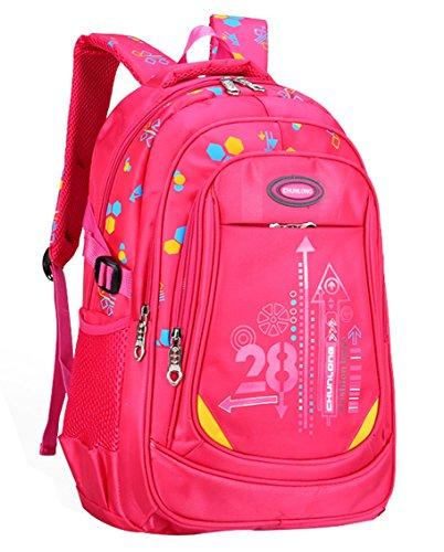 Kinder Junge und Mädchen Schulrucksack Wasserfester Nylon Rucksäcke für Schule Sports rose