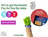Three UK PAYG Trio SIM with £20 Credit + FREE International Calling Card