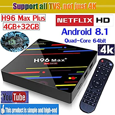 NEWEST 2018 UKPLATINUM5 H96 Max+ TV BOX Android 8.1 RK3328 Quad-Core 64bit 4GB DDR3 32GB EMMC 4K Ultra HD Smart TV Box Support 2.4G/5G Dual Band WIFI 100M LAN 3D H.265 BT 4.1 Smart TV Box UK plug MEDIA PLAYER