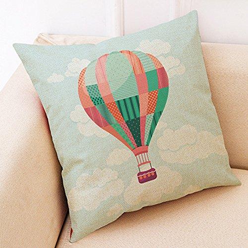 Smartrich Heißluftballon Kissen Kissenbezug für Zuhause, Dekoration, Leinen, Pattern9, 45 x 45 cm
