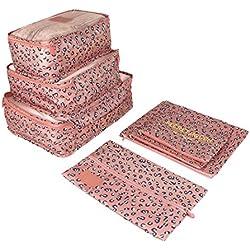 LUVODI Set de 7 Organizadores de Viaje Impermeable y Transpirable Organizador de Maleta Bolsas de Almacenamiento de Equipaje para Ropa Zapatos Cosméticos - Leopardo Rosa