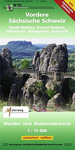 Vordere Sächsische Schweiz Stadt Wehlen, Kurort Rathen, Hohnstein, Königsten, Gohrisch: Wander- und Radwanderkarte. 1:15000 GPS-fähig, wetterfest,reißfest