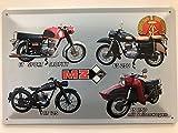 Deko 7 Blechschild 30 x 20 cm DDR Motorrad MZ 4 Modelle