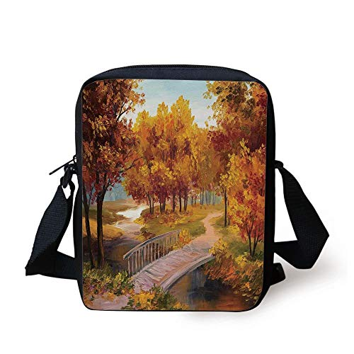 Rustic,Autumn Forest Leaves in Park Small River Wooden Rustic Bridge Image,Orange Beige and Light Blue Print Kids Crossbody Messenger Bag Purse -