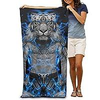 Laohujia GHEDPO Blue Fire Tiger Wallpaper Printed Cool Beach Towel