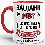 """Geburtstags-Tasse """"Baujahr 1987"""" Innen & Henkel Rot / Kaffee-Tasse / Mug / Cup / Becher / Lustig / Witzig / Fun / Geschenk-Idee / Geburts-Jahr / Scherz-Artikel / Geburtstags-Geschenk / Beste Qualität - 25 Jahre Erfahrung"""