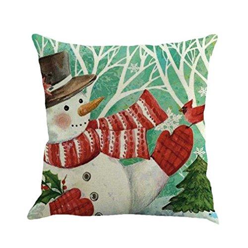 Federe cuscini,fittingran regali di natale belle federe di lino stampate. modello di stampa della casa di natale del pupazzo di neve federa di lino di natale (d)