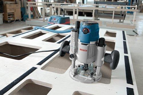 Bosch Professional GOF 1600 CE Oberfräse, 8/12 mm Spannzange, Absaugadapter, Parallelanschlag, Spannzangen, Zentrierstift, 1.600 W, L-Boxx - 6