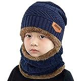 heekpek Bebé Niños Chicos Chicas Cálido Conjunto de punto bufanda, Conjuntos de gorro, Bufanda circular Beanie Sombrero de esquí, Conjuntos 2 EN 1 Accesorios de invierno