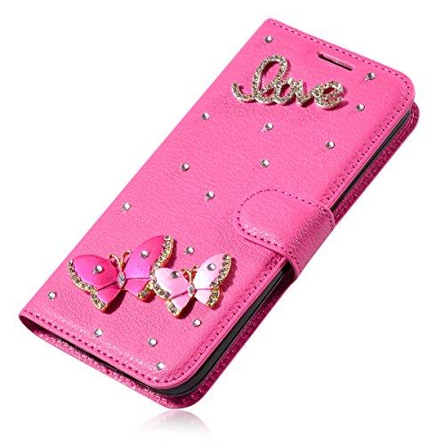 iPhone 7 Plus Coque, iPhone 7 Plus portefeuille Coque, Lifeturt [ Perle papillon ] Livre cuir de qualité supérieure Wallet Case Cover pour iPhone 7 Plus E02-31-L'amour papillon