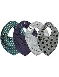 Pippi SUPER 3er Set Jungen Mädchen Baby Kinder HALSTUCH grau blau schwarz + GRATIS 1 Bestseller Dreieckstuch Sterne ~ Pack mit 4 Stück