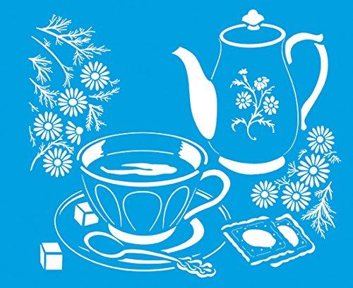 21cm x 17cm Flexibel Kunststoff Universal Schablone - Wand Airbrush Möbel Textil Decor Dekorative Muster Design Kunst Handwerk Zeichenschablone Wandschablone - Tee Kaffeekanne Tasse Weinlese Küchen