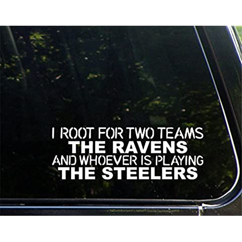 I Radice per due squadre i corvi e chi sta facendo il Steelers – 22,9 x 7,6 cm – Die Cut decalcomania/adesivo per finestre, Auto, camion, Laptop, ecc. - Pennsylvania Bank
