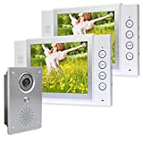 Farb Video Türsprechanlage Sprechanlage mit Bilderspeicher und Speicher auf SD Karte 8 Zoll 2 Monitore 1 Außenstation unterputz Front Aluminium 5 mm