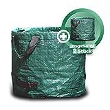 GARSA Gartenabfallsack 2 x 60 Liter - Premium Gartensack mit Verstärkten Griffen, Laubsack klein...