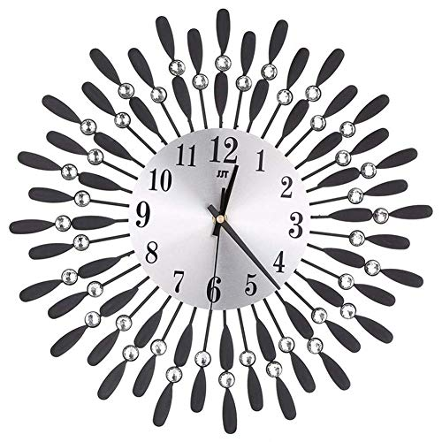 Cikuso 15 Pulgadas Reloj De Pared Grande 3D Decoracion De Sala De Estar Moderno De Estilo De Sol De Diamante De Imitacion Brillante (Negro)