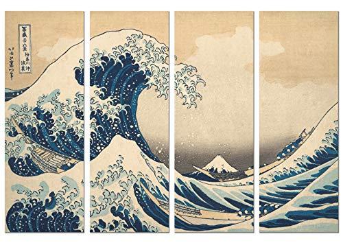 Panorama Póster Hokusai La Gran Ola Kanagawa 4 Piezas