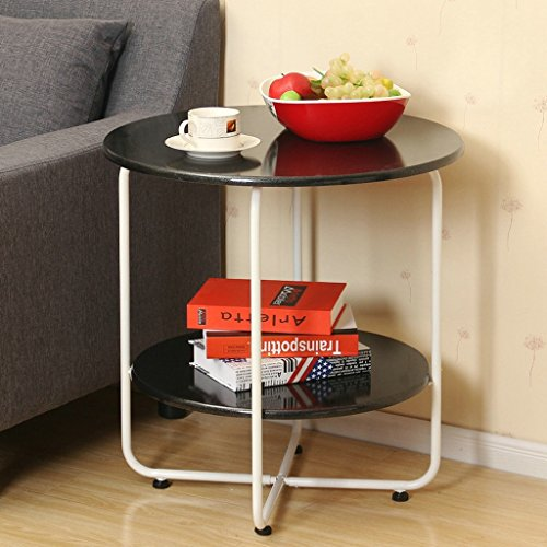 Preisvergleich Produktbild Startseite Esstisch Couchtisch / Weiß Schwarz Rot Runder Tisch / Durchmesser 60cm * Höhe 60,5 cm / Durchmesser 45,5 cm * Höhe 45 cm ( Farbe : Schwarz , größe : L60cm*H60.5cm )