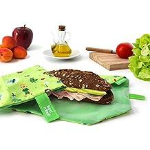 NEW- Roll'eat Boc'n'Roll-Kids Forest (green) Verpackung wiederverwendbar für Brötchen - Sandwich wrap - Food bag - Lunch wrap