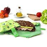 Roll'eat Boc'n'Roll, KIDS Forest , Porta bocadillos reutilizable , bolsa merienda , funda bocadillo, Sin BPA, Verde