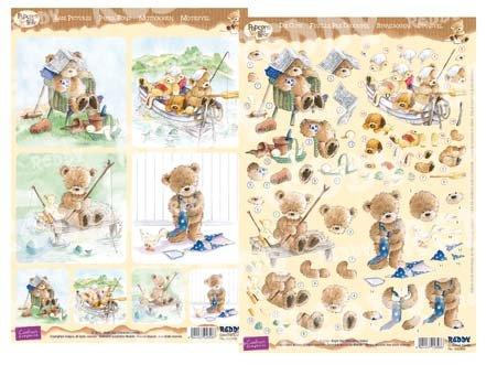 Popcorn Bear 3D Stanzbogen Männerkarte 1. Reddycards