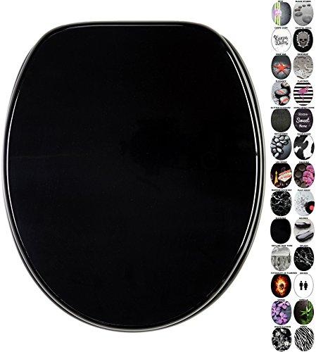 WC Sitz mit Absenkautomatik, viele schöne schwarze WC Sitze zur Auswahl, hochwertige und stabile Qualität aus Holz (Schwarz)