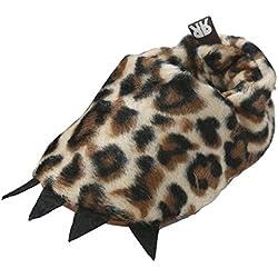 EOZY-Scarpine Bimbi Mostro Zampa Morbide Peluche Scarpe Bambini Primi Passi Leopardo Lunghezza Interna 12.5cm