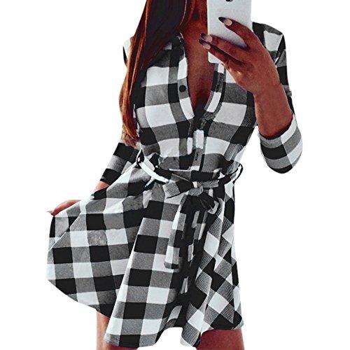 Oderola Damen Dünne 3/4 Ärmel Kleid Kariertes Langarmshirt / Hemdkleid / Shirtkleid / Blusenkleid / Hemdblusenkleid mit Gürtel Weiß