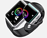 Montre Connectée Smart Watch pour Smartphone compatible Apple iOS, Android et Windows Bluetooth 4.0 montre intelligente avec Support carte SIM et fonction Fitness Tracker - Noir