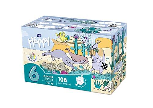 Bella Baby Happy pañales Junior Extra tamaño 6(16+ kg), 108unidades