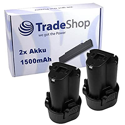 2x Hochleistungs Li-Ion Akku, 10,8V / 1500mAh ersetzt Makita 195332-9 BL1014 194550-6 194551-4 BL1013 194588-1 1953329 BL-1014 1945506 1945514 BL-1013 1945881