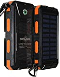 eversource 10000mAh Solar Power Bank, Externe Akku,Solar Ladegerät,hohe kapazität, wasserdicht, stossfest mit 2 LED Solar Taschenlampe (Schwarz-Orange)