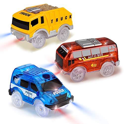 Tyhbelle 3er Pack Set Magic Track Car Spielzeug für Kinder,Leuchten Spielzeugautos 5 LED-Blinklichtern, Blauer Polizeiwagen, roter Bus, gelber LKW, kompatibel mit den meisten Rennstrecken - Spielzeug-rennstrecke