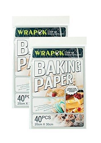 WRAPOK Pergamentpapier Backen Antihaft Backpapier Plätzchen Blätter Vorschnitt Pergament Papier Pan Liner Für Kochen Kuchen Küchen, 8 x 12 Zoll 80 Stück