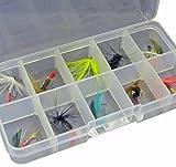 Fladen 10sortiert Süßwasser Fliegen in eine geladen Sektionaltor Tackle Box–13cm x 7cm x 2,5cm [16–7089]