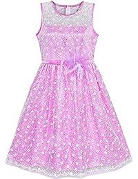 7c60414d2a90 Sunny Fashion Vestito Bambina Fiore Pizzo Lustrino Bagliore Rosa Nozze Festa  5-12 Anni