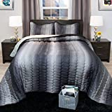 Bedford Home Striped Metallic Bedspread Set - Full - Charcoal/Silver
